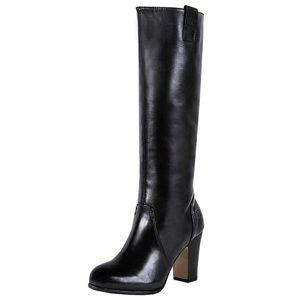 BRONX Black Leather Knee High Chunky Heel Boots